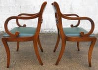 Set of Eight Antique Regency Style Brass Inlaid Mahogany Dining Chairs